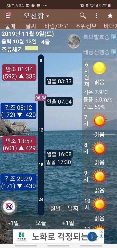 킹덤호 11월09일 갑오징어 조황 입니다 .